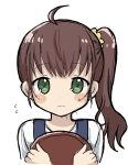 1girl ahoge bangs blush_stickers brown_hair closed_mouth eyebrows_visible_through_hair flying_sweatdrops green_eyes hair_ornament hair_scrunchie highres holding holding_tray long_hair niizato_aoi non_non_biyori scrunchie shika_(s1ka) side_ponytail simple_background solo sweat tray upper_body white_background yellow_scrunchie