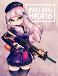 1girl allen_(makaroll) assault_rifle bangs beret blunt_bangs buckle character_name commentary cowboy_shot diamond_(symbol) eyebrows_behind_hair facial_tattoo foregrip girls_frontline gloves green_eyes gun h&k_hk416 hair_ornament hat hk416_(girls_frontline) holding holding_gun holding_weapon inkling jacket laser_sight long_hair looking_at_viewer miniskirt paintball parted_lips pink_background plaid plaid_skirt purple_headwear purple_jacket purple_legwear purple_skirt rifle sidelocks silver_hair skirt solo splatoon_(series) standing tattoo tentacle_hair thigh-highs thigh_gap trigger_discipline weapon white_gloves zettai_ryouiki
