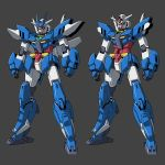 aqua_eyes clenched_hands earthree_gundam grey_background gundam gundam_build_divers gundam_build_divers_re:rise highres joints kevinayama mecha multiple_views no_humans robot_joints simple_background standing v-fin