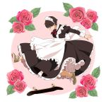 1girl apron bare_legs brown_hair circle closed_eyes commentary dress flower frilled_apron frilled_dress frilled_headband frills long_sleeves maid maid_apron maid_dress maid_headdress original rose shoes short_hair skateboard skateboarding sleeve_cuffs sneakers solo suzushiro_(suzushiro333) white_background