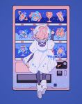 1girl artist_name astronaut_helmet blue_background boots can carton clouds crescent dress floating from_behind full_body index_finger_raised long_sleeves medium_hair meyoco original pink_hair planetary_ring puffy_long_sleeves puffy_sleeves short_over_long_sleeves short_sleeves simple_background solo star_(symbol) vending_machine white_dress white_footwear