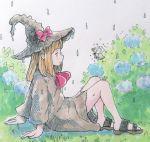 1girl bare_legs bee bug commentary flower hat hydrangea insect medium_hair orange_hair original porankaran rain robe sandals sitting witch witch_hat