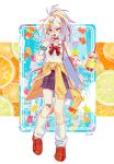 1girl abc22abc aqua_nails bandaid bandaid_on_knee blue_skirt bow bowtie clothes_around_waist cup food fruit full_body gummy_bear hair_between_eyes hair_ornament hairclip highres holding holding_cup long_hair long_sleeves looking_at_viewer multicolored_hair open_mouth orange orange_footwear orange_hair orange_slice original plaid plaid_skirt pleated_skirt ponytail red_neckwear scrunchie shirt shoes skirt smile socks solo standing sweater_around_waist white_hair white_legwear white_shirt wrist_scrunchie