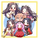 6+girls :d absurdres ahoge bandaid bangs bare_shoulders black_bodysuit black_gloves black_hair black_legwear black_ribbon blue_hair blush bodysuit boots brown_eyes brown_hair chain cloak closed_eyes closed_mouth earrings eyebrows_visible_through_hair facial_mark fate/grand_order fate_(series) fingerless_gloves floating flower forehead_mark fujimaru_ritsuka_(female) fur-trimmed_cloak fur-trimmed_hood fur_trim gloves grey_vest hair_between_eyes hair_ribbon hand_on_another's_head harem highres hood hood_down hooded_jacket hoop_earrings horns ishtar_(fate)_(all) ishtar_(fate/grand_order) ishtar_(swimsuit_rider)_(fate) jacket jako_(jakoo21) jewelry knee_boots knees_up long_hair long_sleeves multicolored_hair multiple_girls multiple_persona navel one_side_up open_clothes open_mouth open_vest parted_bangs pink_hair pink_jacket red_cloak red_eyes red_flower red_rose redhead ribbon rose seiza short_shorts shorts single_glove single_thighhigh sitting smile space_ishtar_(fate) sparkle star-shaped_pupils star_(symbol) surrounded sweat symbol-shaped_pupils thigh-highs tiara translation_request two-tone_hair two_side_up v-shaped_eyebrows very_long_hair vest wavy_mouth yellow_footwear yellow_gloves yellow_shorts