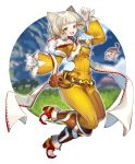 1girl :d animal_ears bangs belt belt_pouch bodysuit boots breasts byakko_(xenoblade) cat_ears facial_mark full_body gloves grass highres long_scarf looking_at_viewer medium_breasts narrow_waist niyah open_mouth outdoors pouch scarf short_hair silver_hair simple_background smile solo white_background white_gloves xenoblade_(series) xenoblade_2 yagi_(kyuhyun) yellow_bodysuit yellow_eyes