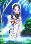 1girl abo_(kawatasyunnnosukesabu) black_hair blue_eyes blurry_foreground condensation_trail day eel fish highres holding looking_at_viewer maid maid_headdress mouth_hold original outdoors seaweed see-through sky wading water wet wet_clothes