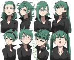 1girl bangs black_dress blush collared_dress cosplay cosplay_request cropped_torso curly_hair dress giorno_giovanna green_eyes green_hair hair_between_eyes hair_ornament hairband hairclip hatsune_miku hatsune_miku_(cosplay) highres jojo_no_kimyou_na_bouken jourd4n long_hair looking_at_viewer mandy mandy_(cosplay) medium_hair multiple_views neon_genesis_evangelion one-punch_man open_mouth short_hair simple_background souryuu_asuka_langley souryuu_asuka_langley_(cosplay) tatsumaki the_grim_adventures_of_billy_&_mandy twintails upper_body vento_aureo vocaloid white_background