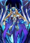 1girl absurdres bare_shoulders blazblue blonde_hair blue_eyes breasts cloak collarbone crossed_legs dark_persona english_commentary forehead_protector glowing glowing_eyes grey_skin half-closed_eyes headgear highres huge_filesize ibenz009 long_hair mecha_musume metal_skin mu-12 nail_polish shiny shiny_skin small_breasts smile solo toeless_legwear tsurime under_boob