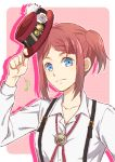 1girl bangs blue_eyes braid closed_mouth collarbone collared_shirt dress_shirt hat holding holding_hat long_sleeves looking_at_viewer musical_note neck_ribbon one_side_up pink_background red_headwear red_ribbon redhead ribbon rose_(tales) saklo shiny shiny_hair shirt short_hair single_braid smile solo suspenders swept_bangs tales_of_(series) tales_of_zestiria upper_body white_background white_shirt wing_collar