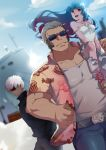 1girl 2boys bangs blue_hair dress hands_in_pockets hawaiian_shirt k' kula_diamond maxima multiple_boys on_shoulder red_eyes ship shirt sunglasses the_king_of_fighters watercraft white_dress white_hair y453383286