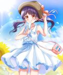 1girl :q bag bang_dream! bangs bare_shoulders blue_ribbon blue_sky blush breasts brown_eyes collarbone commentary_request cowboy_shot day dress eyebrows_visible_through_hair field flower flower_field food futaba_tsukushi hair_ribbon hand_on_headwear hand_up hat hat_ribbon highres holding holding_food kurauchin_start lens_flare light_rays long_hair looking_at_viewer outdoors pink_ribbon popsicle purple_hair ribbon sailor_collar sailor_dress shoulder_bag sidelocks sky small_breasts smile solo standing summer sun_hat sunbeam sunflower sunflower_petals sunlight tongue tongue_out twintails white_dress white_sailor_collar