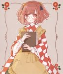 1girl apron bangs bell blush book book_hug checkered checkered_shirt glasses hair_bell hair_ornament holding holding_book japanese_clothes kimono looking_at_viewer motoori_kosuzu red_eyes redhead round_eyewear shirt short_hair touhou twintails two_side_up yellow_apron yujup