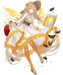 1girl absurdly_long_hair basket blonde_hair blue_eyes book bracelet bug butterfly dress frilled_dress frills full_body hat insect jewelry ji_no long_hair looking_at_viewer official_art petals rapunzel_(sinoalice) sandals sinoalice smile solo straw_hat sundress transparent_background very_long_hair