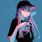 1girl black-framed_eyewear black_headwear black_shirt blue_background blue_hair blue_nails cigarette earrings hat highres jewelry long_hair open_mouth original richard_(ri39p) shirt short_sleeves simple_background smoking upper_body violet_eyes