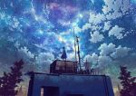 1girl building clouds cloudy_sky dress gradient_sky long_dress milky_way mocha_(cotton) night night_sky original outdoors scenery short_sleeves sky solo star_(sky) starry_sky tree weather_vane wide_shot