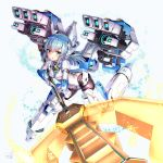 1girl alice_gear_aegis black_legwear blue_eyes blue_hair bodysuit commentary_request doyouwantto explosion head_gear holding holding_lance holding_weapon lance mecha_musume polearm solo weapon