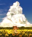 1girl blue_sky closed_eyes clouds day dress field flower flower_field hat highres original outdoors scenery sky sleeveless sleeveless_dress solo standing straw_hat sumitokohyutan summer sun_hat sunflower white_dress