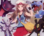 1girl arm_up bag blastoise blue_(pokemon) blue_tank_top brown_hair closed_mouth collarbone commentary_request enamo_(dcah) eyebrows_visible_through_hair gen_1_pokemon gen_2_pokemon gengar grey_background hand_on_headwear hand_up hat highres holding holding_poke_ball long_hair looking_at_viewer magneton poke_ball pokemon pokemon_(creature) pokemon_(game) pokemon_frlg porkpie_hat red_skirt skirt tank_top umbreon wristband