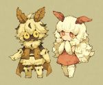 +_+ 1boy 1girl :< :d ahoge antennae bangs bare_shoulders beige_background beige_gloves big_hair blunt_bangs blush boots brown_cape brown_vest cape commentary_request dark_skin dress elbow_gloves flipped_hair full_body gloves hair_between_eyes insect_boy insect_girl knee_boots long_hair looking_at_viewer maniani messy_hair monster_boy monster_girl moth_boy moth_girl open_mouth original own_hands_together pink_skin pointing red_dress red_eyes red_sclera scarf shirtless short_hair shorts sidelocks simple_background sleeveless sleeveless_dress smile thigh-highs very_long_hair vest white_footwear white_gloves white_hair yellow_eyes yellow_sclera zettai_ryouiki