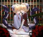 2boys absurdres ahoge amiu blonde_hair blush flower highres holding_hands looking_at_viewer male_focus multiple_boys original rose scorpion_tail siblings slit_pupils tail twins yellow_eyes
