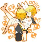 1boy 1girl 7:24 :d arm_up bare_legs bare_shoulders blonde_hair blue_eyes blush bow brother_and_sister carrying cheering clenched_hand crop_top hair_bow hair_ornament hairclip highres kagamine_len kagamine_rin leg_up midriff necktie one_knee open_mouth princess_carry sailor_collar shirt short_hair short_ponytail shorts siblings skull sleeveless sleeveless_shirt smile sweat sweatdrop tired twins vocaloid yellow_neckwear
