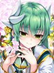 1girl bangs blurry blurry_background cherry_blossoms closed_mouth commentary_request depth_of_field eyebrows_visible_through_hair fate/grand_order fate_(series) fingernails flower green_eyes green_hair green_kimono hair_between_eyes hair_ornament hands_up highres hitsujibane_shinobu horns japanese_clothes kimono kiyohime_(fate/grand_order) long_hair long_sleeves looking_at_viewer pink_flower smile solo tree_branch upper_body white_kimono