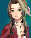 1girl absurdres aerith_gainsborough blue_background bow brown_hair final_fantasy final_fantasy_vii final_fantasy_vii_remake green_eyes hair_bow highres jewelry long_hair looking_at_viewer necklace pink_bow red_shirt richard_(ri39p) shirt smile solo upper_body