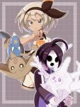 1boy 1girl ahoge black_bodysuit black_hair black_hairband bodysuit bodysuit_under_clothes closed_mouth collared_shirt commentary_request cursola gen_2_pokemon gen_8_pokemon grey_hair gym_leader hairband hand_up highres hitmontop mask onion_(pokemon) pokemon pokemon_(creature) pokemon_(game) pokemon_swsh print_shirt print_shorts saitou_(pokemon) shirt short_hair short_sleeves shorts suspenders tem_(mimoteurur013) v-shaped_eyebrows