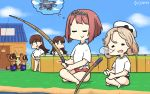 4girls ark_royal_(kantai_collection) bangs bikini bikini_bottom bikini_under_clothes blonde_hair blue_sky blunt_bangs bob_cut brown_eyes brown_hair closed_eyes clouds commentary_request crossover dated day doubutsu_no_mori dreaming dual_persona fence fishing_line fishing_rod hairband hamu_koutarou hands_on_hips hat highres holding holding_fishing_rod house indian_style janus_(kantai_collection) kantai_collection long_hair mamekichi_(doubutsu_no_mori) multiple_girls nose_bubble ooi_(kantai_collection) outdoors parted_bangs redhead sailor_hat shirt short_hair sitting sky sleeping swimsuit swimsuit_under_clothes swordfish_(airplane) tanuki tiara tied_shirt tsubukichi_(doubutsu_no_mori) white_headwear white_shirt x_navel