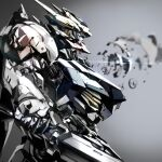 absurdres blurry blurry_background from_side grey_background gundam gundam_barbatos gundam_barbatos_lupus gundam_tekketsu_no_orphans highres machinery mecha mechanical_arms mechanical_hands mechanical_horn mechanical_parts mobile_suit no_humans shimoguchi_tomohiro sword v-fin weapon