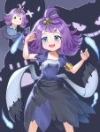 1girl acerola_(pokemon) arm_up armlet blue_eyes blush collarbone commentary dress drifblim eyelashes gen_1_pokemon gen_4_pokemon gen_7_pokemon gengar hair_ornament hand_up highres medium_hair multicolored multicolored_clothes multicolored_dress open_mouth palossand pokemon pokemon_(game) pokemon_sm purple_hair shiny shiny_hair short_sleeves smile stitches tongue topknot woodpecker_(alsdndlekd)
