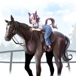 1girl :d animal_connection animal_ears bangs bow brown_footwear brown_hair collared_shirt commentary_request ear_ribbon eyebrows_visible_through_hair hachimaki hairband headband horse horse_ears horse_girl horse_tail irony leaning_forward long_hair multicolored_hair no_socks open_mouth overalls partial_commentary purple_bow riding shirt shoes short_hair short_sleeves smile solo special_week swept_bangs tail tonpuu two-tone_hair umamusume violet_eyes white_hairband white_headband white_shirt younger