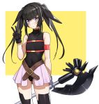 1girl bardiche black_gloves black_hair black_legwear black_leotard blush border breasts cosplay covered_navel eyebrows_visible_through_hair fate_testarossa fate_testarossa_(cosplay) gloves hair_ornament hair_ribbon leotard lyrical_nanoha open_mouth pink_skirt ribbon senki_zesshou_symphogear shiny shiny_hair simple_background skirt small_breasts solo thigh-highs tsukamoto_kensuke tsukuyomi_shirabe twintails violet_eyes w white_border yellow_background