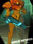 1girl arm_cannon armor full_armor hand_up helmet metroid out_of_frame pauldrons power_armor power_suit samus_aran shoulder_armor shoulder_pads standing teke visor visor_(armor) weapon