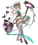 1girl aqua_eyes birdcage brown_hair bug butterfly cage chain flower full_body gretel_(sinoalice) hansel_(sinoalice) hat insect ji_no key loafers looking_at_viewer official_art ribbon sailor_collar school_uniform shoes sinoalice skirt smile solo staff thigh-highs transparent_background