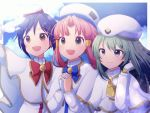 3girls aika_granzchesta alice_carroll aria aria_company_uniform bow bowtie capelet dress gloves gold_trim high_collar himeya_company_uniform long_sleeves mizunashi_akari multiple_girls orange_planet_uniform shirt sky smile undershirt uniform upper_body white_capelet white_dress white_headwear white_shirt wotsumiki_(sakura-yuzu)
