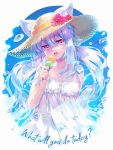 1girl animal_ears carnelian cat_ears dress english_text food hat holding holding_food ice ice_cream ice_cube long_hair looking_at_viewer original silver_hair solo straw_hat sundress teeth tongue twintails upper_body violet_eyes water white_dress
