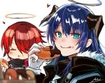 2girls arknights blue_eyes blue_hair doughnut eating exusiai_(arknights) food food_on_face gloves hair_over_one_eye halo highres horns licking_lips mostima_(arknights) multiple_girls nu_(dndnknkn) redhead signature tongue tongue_out white_background white_gloves