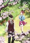 1boy 1girl black_legwear black_neckwear black_pants blue_eyes blue_shirt blurry_foreground brown_hair brown_vest cat cherry_blossoms clothes_around_waist collared_shirt dango day dezel_(tales) dress_shirt eating floating_hair food green_hair holding holding_food kneehighs looking_up miniskirt necktie outdoors pants red_sweater rose_(tales) saklo school_uniform shiny shiny_hair shirt short_hair short_sleeves skirt sunglasses sweater sweater_around_waist tales_of_(series) tales_of_zestiria vest wagashi walking wing_collar