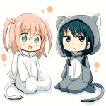 2girls :o animal_costume animal_ears animal_hood bangs black_hair blush cat_costume cat_ears cat_hood cat_pajamas cat_tail child dot_nose eyebrows_visible_through_hair full_body green_eyes grey_pajamas hair_between_eyes hood hood_down kneeling long_hair low_twintails multiple_girls nemoto_hina nmemoton open_mouth pajamas pink_hair sitting tail tamura_yuri twintails violet_eyes watashi_ga_motenai_no_wa_dou_kangaetemo_omaera_ga_warui! white_background white_pajamas younger