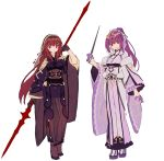 2girls adapted_costume fate/grand_order fate_(series) gae_bolg hair_intakes hakusai_(tiahszld) headpiece highres holding holding_wand japanese_clothes kimono looking_at_viewer multiple_girls obi pauldrons polearm ponytail purple_hair red_eyes sash scathach_(fate)_(all) scathach_(fate/grand_order) scathach_skadi_(fate/grand_order) shoulder_armor tiara veil wand weapon