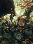 1girl :d absurdres beak bird chick dullahan english_commentary feathers fingerless_gloves fish gloves highres looking_at_another nest open_mouth original porforever red_eyes redhead short_twintails sitting smile sword tree twintails weapon