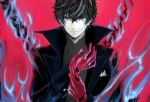 1boy adjusting_clothes adjusting_gloves amamiya_ren bangs black_coat black_hair blue_fire chain closed_mouth coat fire gloves grey_eyes hair_between_eyes hitoki_(kokusei1977) looking_at_viewer open_clothes open_coat persona persona_5 red_background red_gloves smile solo twitter_username upper_body