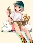 1girl absurdres baguette baseball_cap beige_background black_headwear blue_nails bob_cut bread brown_shorts cup disposable_cup drinking_straw earrings food grass green_hair hat highres jewelry mouth_hold orange_legwear original rabbit richard_(ri39p) shirt shoes short_hair short_sleeves shorts simple_background sitting smile sneakers watch watch white_shirt