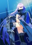 1girl armored_boots bangs black_jacket blue_eyes blue_ribbon blush boots breasts cropped_jacket crotch_plate fate/extra fate/extra_ccc fate_(series) hair_ribbon high_collar highres jacket long_hair long_sleeves looking_at_viewer meltryllis navel prosthesis prosthetic_leg purple_hair ribbon sleeves_past_fingers sleeves_past_wrists small_breasts very_long_hair zenshin