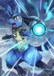 aura_sphere_(pokemon) commentary_request fangs furry gen_4_pokemon highres lucario no_humans open_mouth pokemon pokemon_(creature) red_eyes shigure_na_hito solo tongue