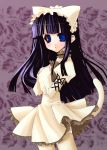 1girl animal_hat bad_id blue_eyes cat_hat dress hands_on_own_chest hat hat_with_ears hazuki_(tsukuyomi) long_hair momosui_piromi purple_hair solo tail thigh-highs tsukuyomi_moonphase zettai_ryouiki