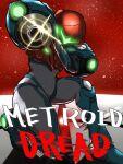 1girl arm_cannon armor glowing helmet highres looking_at_viewer metroid metroid_dread power_armor roubay samus_aran science_fiction sidelocks simple_background solo upper_body varia_suit visor weapon