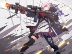 1girl action ar-15 assault_rifle asymmetrical_legwear black_legwear commentary_request dual_wielding firing girls_frontline gloves gun highres holding jacket kuro_kosyou long_hair mod3_(girls_frontline) open_clothes open_jacket pink_eyes pink_hair ponytail red_gloves rifle scope solo st_ar-15_(girls_frontline) thigh-highs thigh_strap weapon