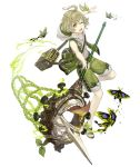 1boy ahoge bag bug butterfly butterfly_net full_body green_eyes green_hair hand_net hood hoodie insect ji_no long_nose looking_at_viewer official_art one_eye_closed pinocchio_(sinoalice) sandals shorts shoulder_bag sinoalice sleeveless solo tongue tongue_out transparent_background upper_teeth